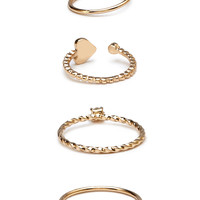 Heart Charms Ring Set