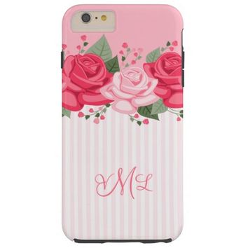 Country Chic Pink Roses and Stripes iPhone 6 Case
