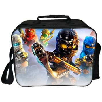 Lego Movie Lunch Bags Cartoon Ninjago Batman Deadpool Iron Man Captain America Pattern Thermal Insulated Cool Bags 3D Picnic Bag