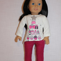 18 inch doll clothes,  graphic print ivory  high low long sleeve shirt, pink skinny leg cords, American Girl doll clothes
