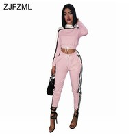 2 Piece Set Women Pink Full Sleeve O-Neck Cropped Top Drawstring Mid-Calf