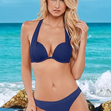 Scoop Front Bikini Bottom in Navy Blue | VENUS