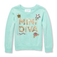 Baby And Toddler Girls Long Sleeve Sequin 'Mini Diva' Patch Sweater