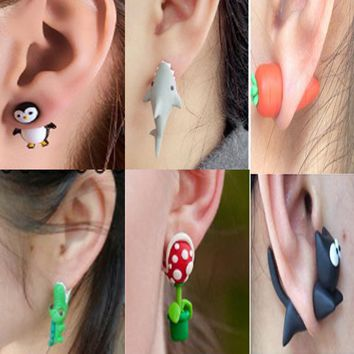 Showlove-2pcs Polymer Clay Earrings Cute Animal Ear Studs Piercing Jewelry