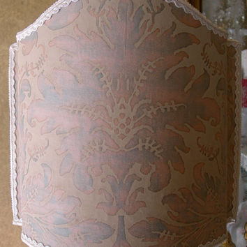 "Half Lamp Shade Fortuny Fabric Driftwood Lucrezia Pattern Lampshade W11,8"" - Handmade in Italy"