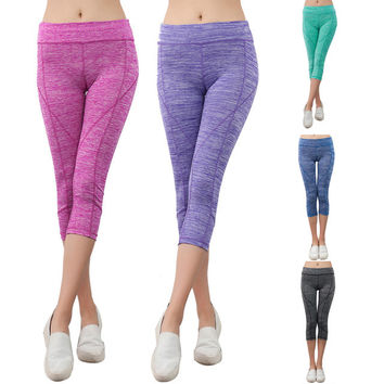 Womens High Waist Yoga Gym Leggings Fitness Stretch Sport Elastic Tights Female Exercise Sports Fitness H1E1