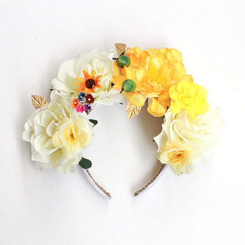 floral headpiece // flower crown headband, wedding bridal headpiece, statement, lana del rey, nature, garden party, summer, spring, festival