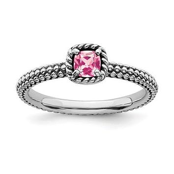 Sterling Silver Stackable Expressions Checker-Cut Cushion Pink Tourmaline Antiqued Ring