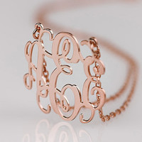 Rose Gold Monogram necklace - 0.8 inch Personalized Monogram - 925 Sterling silver 18k Gold Plated