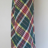 1970s Preppy Maxi Skirt // Green Plaid Cotton Seersucker 26 Inch Waist A-Line