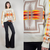 vtg PENDLETON 70's WOOL Southwestern NAVAJO american Indian sweater native Chief Joseph folk jumper