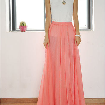 High Waist Maxi Skirt Chiffon Long Skirt Silk Skirts Elegant Elastic Waist Summer Skirt Floor Length Long Skirt
