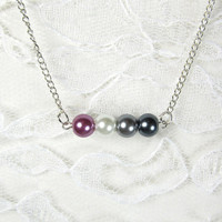 Pearl Pride Necklace - Asexual, LGBT, purple, white, silver, gray, black pearls