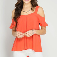 Flutter Sleeve Cold Shoulder Top - Tomato