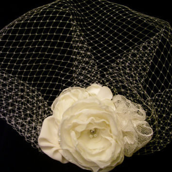 Birdcage Veil and Hairpiece, Wedding Hairpiece, Ivory Veil, Fascinator Wedding Veil, Birdcage Bridal Hairpiece , Also Black or White