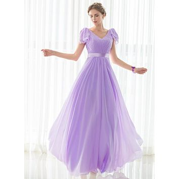 Cheap Floor Length V-neck Bridesmaid Dresses Wedding Party Dress In Stock Light Purple Chiffon New Bridesmaid Gown