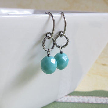 Turquoise Glass Earrings, Oxidized Sterling Silver, Delicate Twist Ring Earrings, Boho Blue Glass