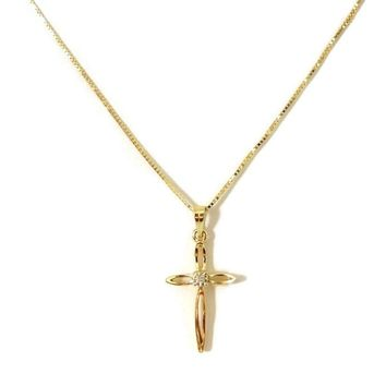 Cross 14k Gold with Diamond Accent and 14k Chain Vintage Dainty Italy
