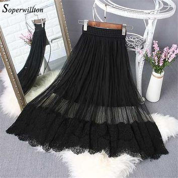 2018 Long Tulle High Waist Skirts Lace For Women's Spring Summer Casual Black elastic Mesh Pleated Vintage Midi Skirts Lady #S13