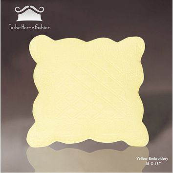 Tache 2 Piece Solid Yellow Quilted Buttercup Puffs Cushion Throw Pillow Cover Set (YELLEMDES-CC)