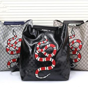 DCCK6HW Gucci' Unisex Casual Fashion Snake Pattern Embroidery Classic Print Backpack Couple Large Capacity Double Shoulder Bag