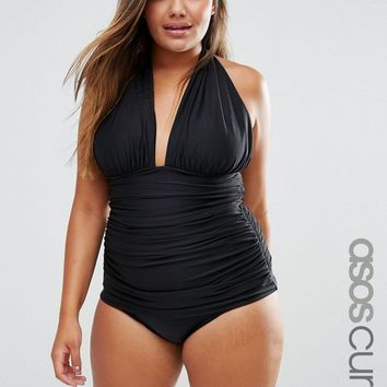 ASOS CURVE Ruched Halter Swimsuit at asos.com