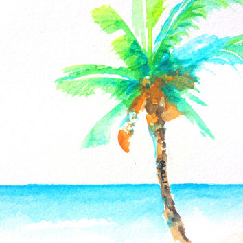 Original Watercolor, Coconut Palm Tree, 4x4, small painting, beach theme, tropical theme, beach house art