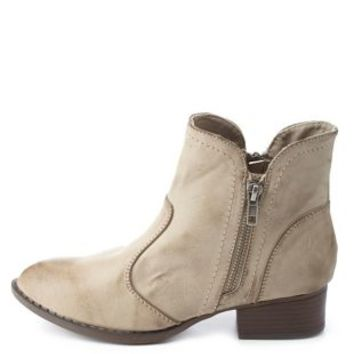 Dollhouse Double Zip Ankle Boots by Charlotte Russe - Taupe