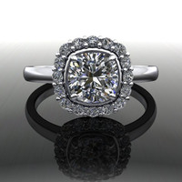 Forever Brilliant Moissanite and Diamond Simple Halo Engagement Ring 1.35 CTW