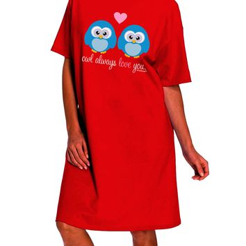 Owl Always Love You - Blue Owls Dark Adult Night Shirt Dress by TooLoud
