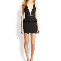 Bec & Bridge - Christie Deep-V Zipped Peplum Body-Con Dress