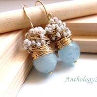 FREE shipping - The Laurent - fresh earrings with big faceted aquamarine and silver sea pearls