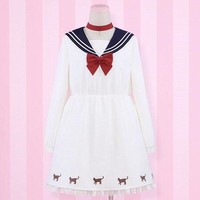2018 Chic Girls Sailor Collar Dress Maid Lolita Cute Neko Atsume Cat Uniform Costume Japanese High School Dresses Women Harajuku