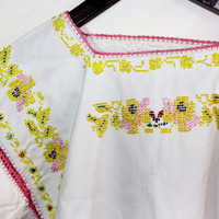 Vintage Yellow Peasant Embroidered Beaded Blouse Children Blouse Girls Blouse Traditional Ukrainian Blouse Folk Blouse