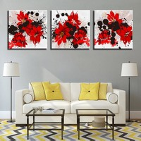 Home Decor Wall Art Canvas HD Prints Poster 3 Pieces Red Flowers Paintings Hibiscus Rosa Sinensis Framework Pictures Living Room