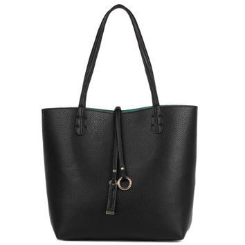 Reversible Tote Small Black/Teal