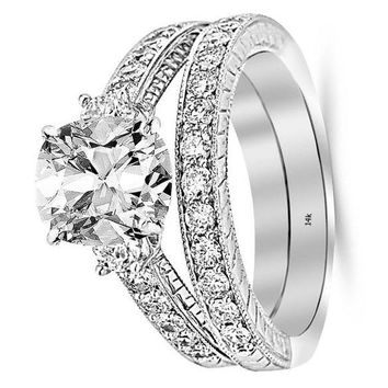.2.53 Ctw 14K White Gold GIA Certified Cushion Cut Three Stone Vintage with Milgrain & Filigree Bridal Set with Wedding Band & Diamond Engagement Ring, 1.5 Ct G-H VS1-VS2 Center