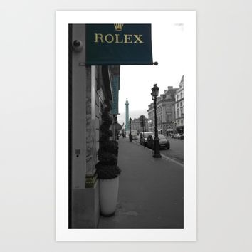 Paris luxe black and white with color Art Print by Mr Splash
