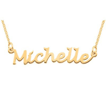 Script Name Necklace in 10K White or Yellow Gold (10 Characters)