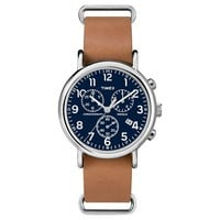 Timex Weekender™ Slip Thru Leather Strap Chronograph Watch - Tan/Blue TW2P62300JT