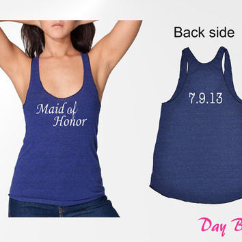 MAID of HONOR Tank Top with Personalized Wedding Date (6 Colors Available)