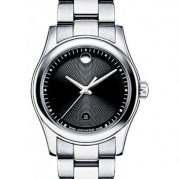 Movado Sportivo Ladies Stainless Steel Black Museum Dial Minute Track Date Display 28mm Watch 0606482