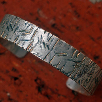 Silver Filled Rugged Wrist Cuff, Unisex- Personalized Secret Message Bracelet,  Woodgrain Texture, Adjustable