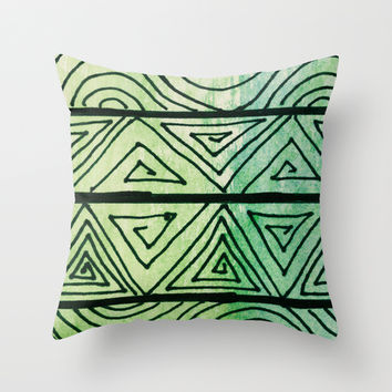 Zentangle Aztect Pattern Throw Pillow by Idle Amusement