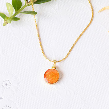 Gold Plated Necklace With Orange Round Glitter Resin Pendant / Gold Resin Necklace / Bridesmaid gift / statement necklace
