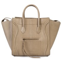 Celine Medium Luggage Phantom Bag In Taupe Python
