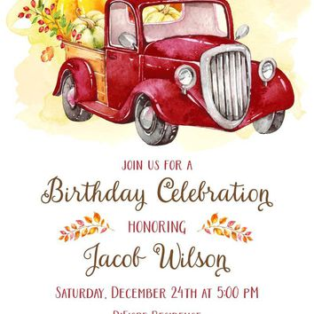 Red Truck Pumpkin Birthday Invitations