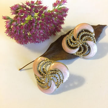 Pink Enamel Swirl Earrings Mid Century Clip On Spiral  Earrings Vintage Pink and Gold Geometric Jewelry