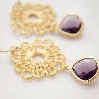 Amethyst and Gold Earrings - Bridal Jewelry | Bellissimo Jewelry
