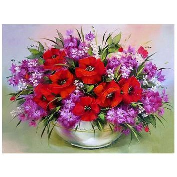 DIY diamond painting embroidery red flowers decorative vase pictures of rhinestones hobbies and crafts home decoration HL401